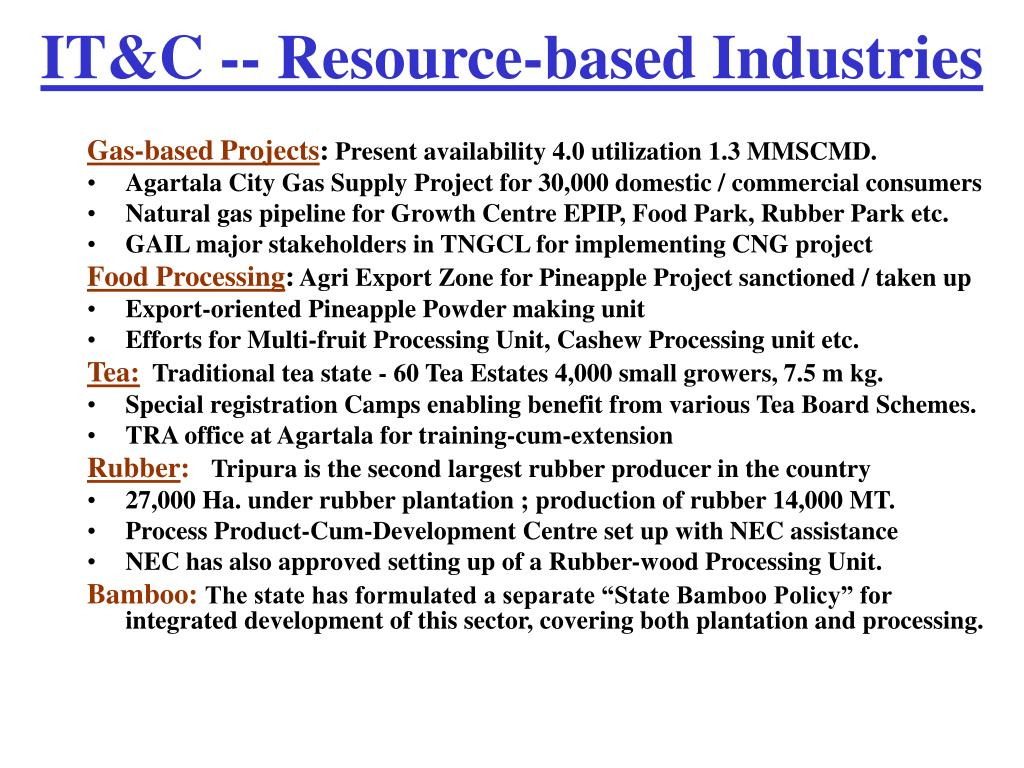 IT&C -- Resource-based Industries