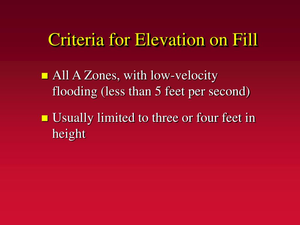 Criteria for Elevation on Fill