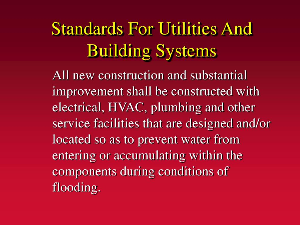 Standards For Utilities And Building Systems