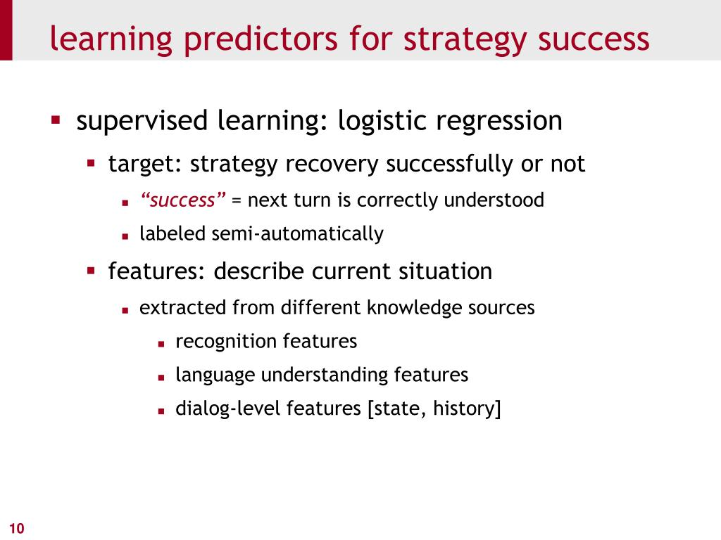 learning predictors for strategy success