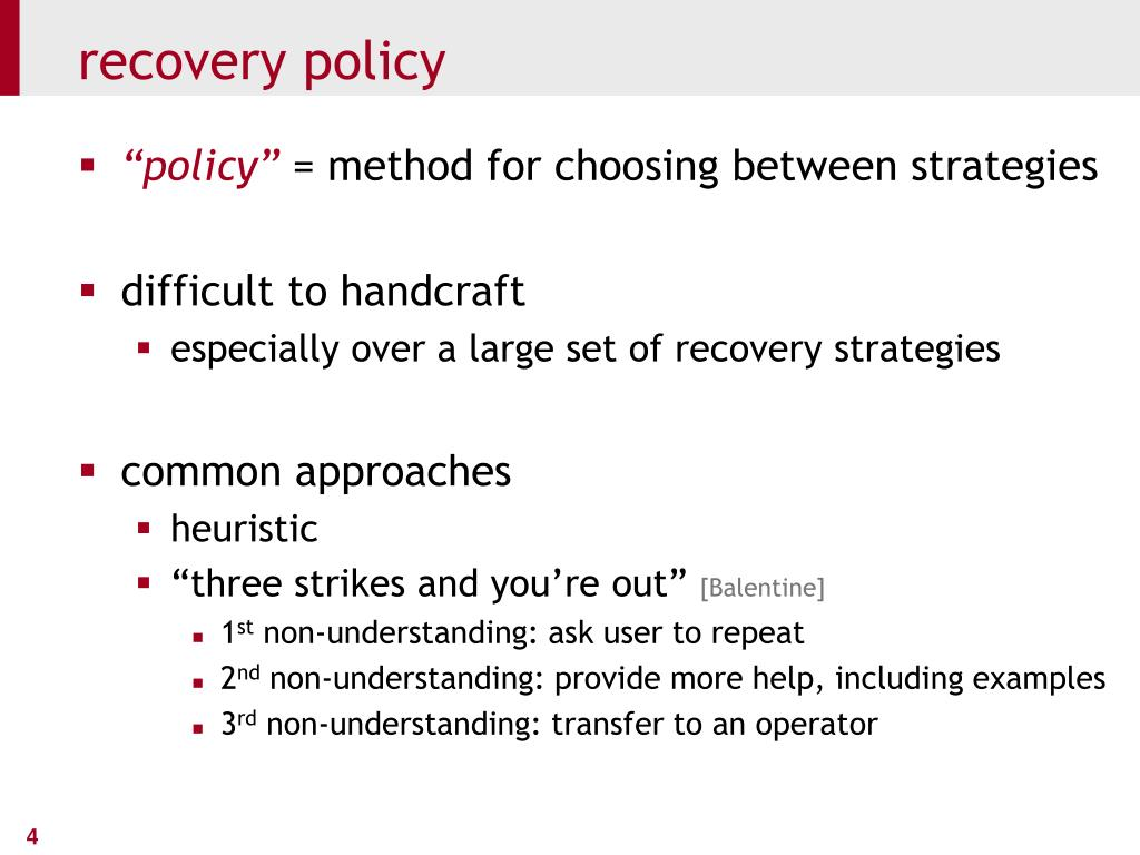 recovery policy