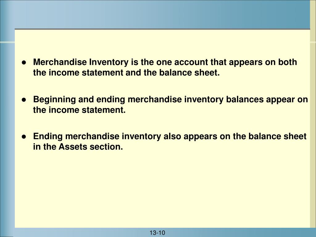 Merchandise Inventory is the one account that appears on both the income statement and the balance sheet.