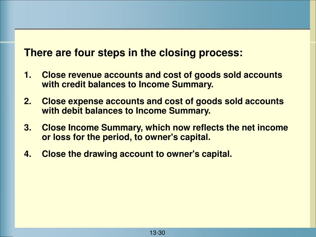 Close revenue accounts and cost of goods sold accounts with credit balances to Income Summary.