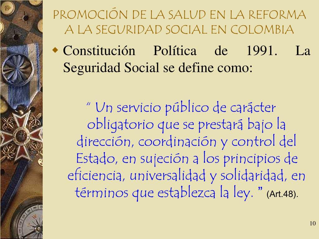 PROMOCIÓN DE LA SALUD EN LA REFORMA A LA SEGURIDAD SOCIAL EN COLOMBIA