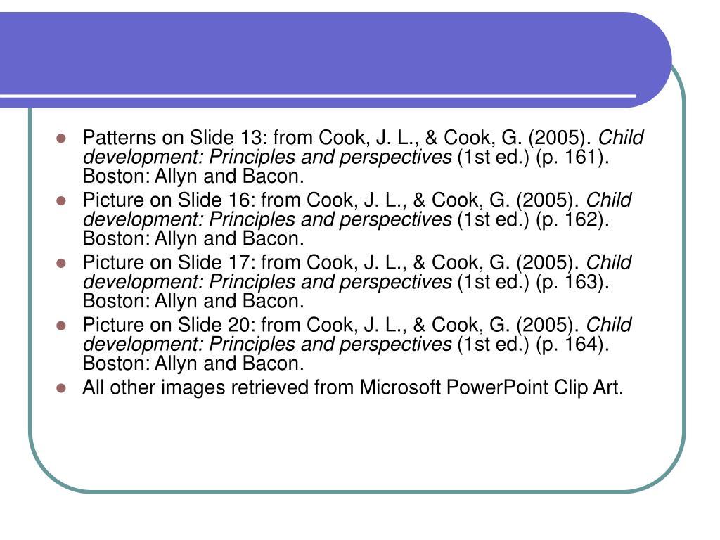 Patterns on Slide 13: from Cook, J. L., & Cook, G. (2005).