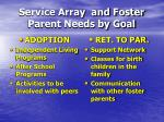 service array and foster parent needs by goal