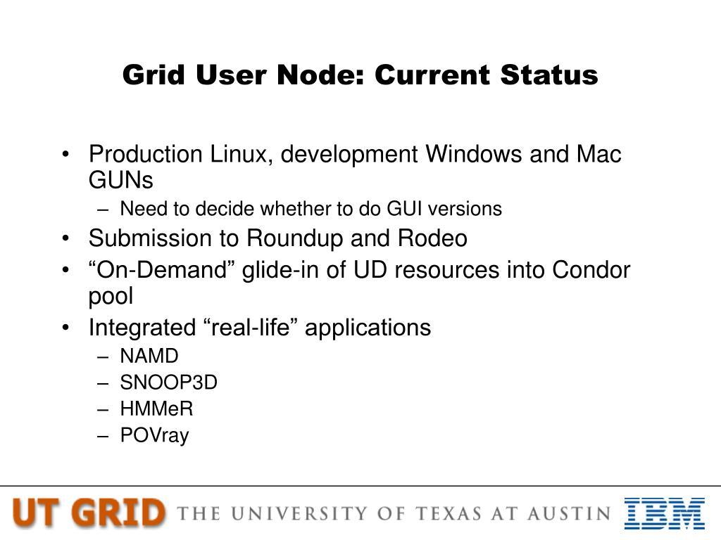 Grid User Node: Current Status