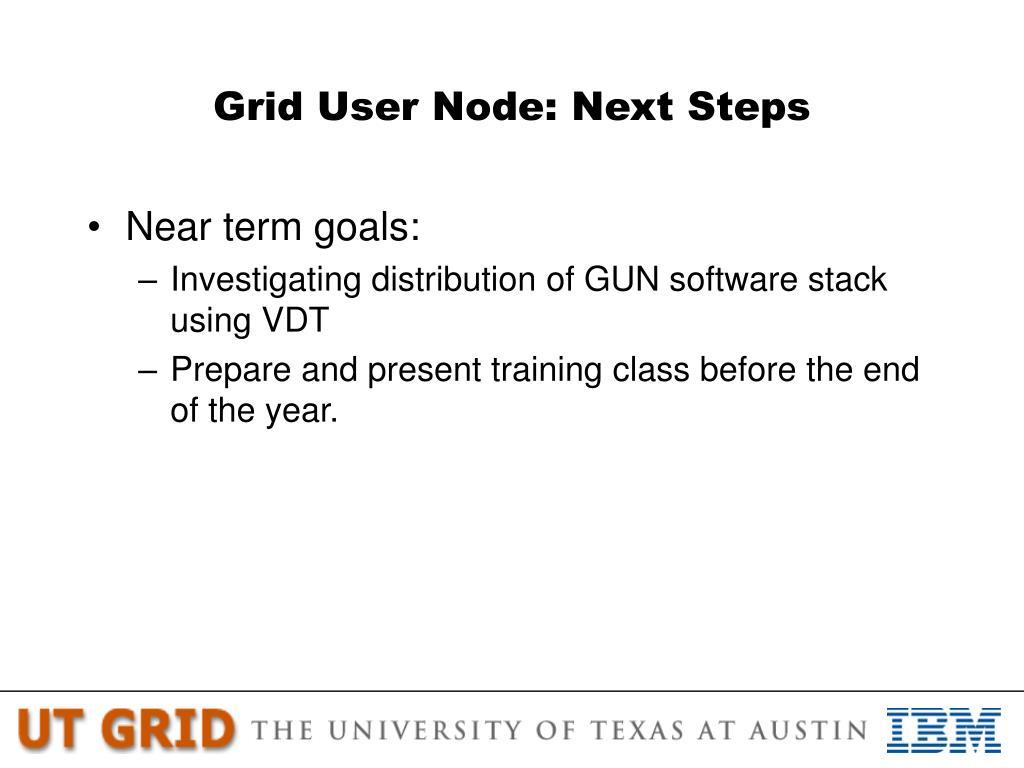 Grid User Node: Next Steps