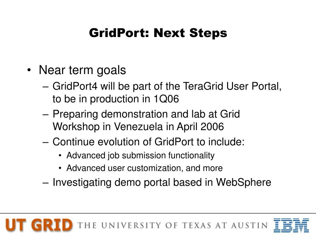 GridPort: Next Steps