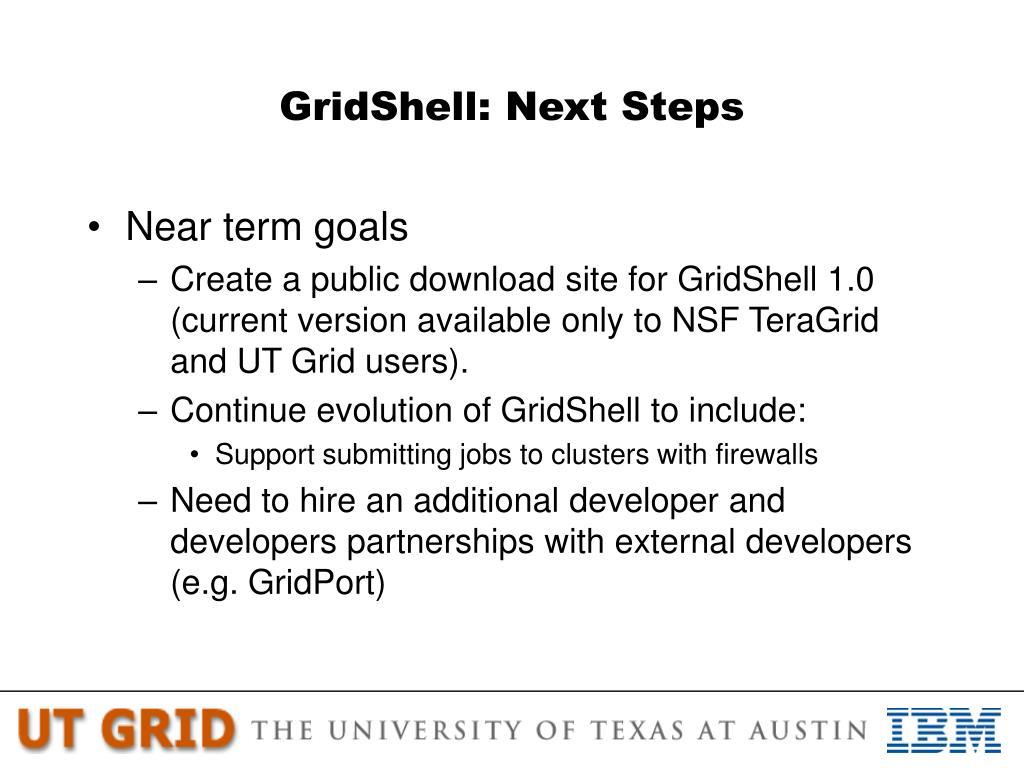 GridShell: Next Steps