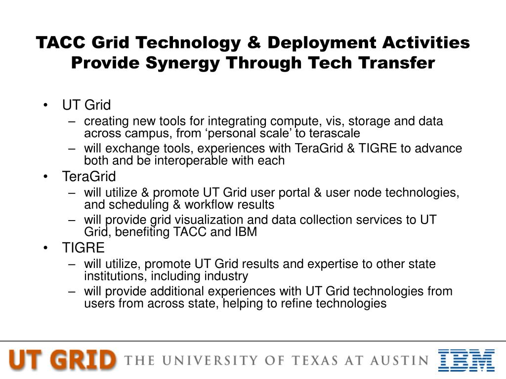 TACC Grid Technology & Deployment Activities Provide Synergy Through Tech Transfer