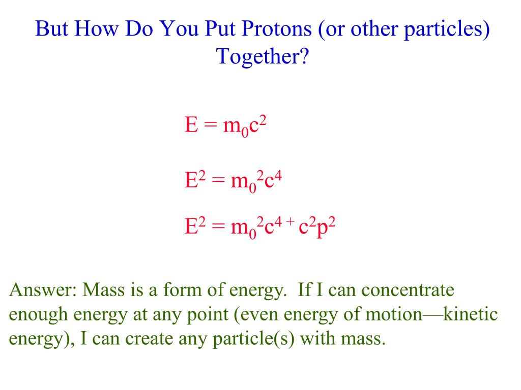 But How Do You Put Protons (or other particles) Together?