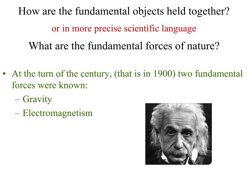 At the turn of the century, (that is in 1900) two fundamental forces were known: