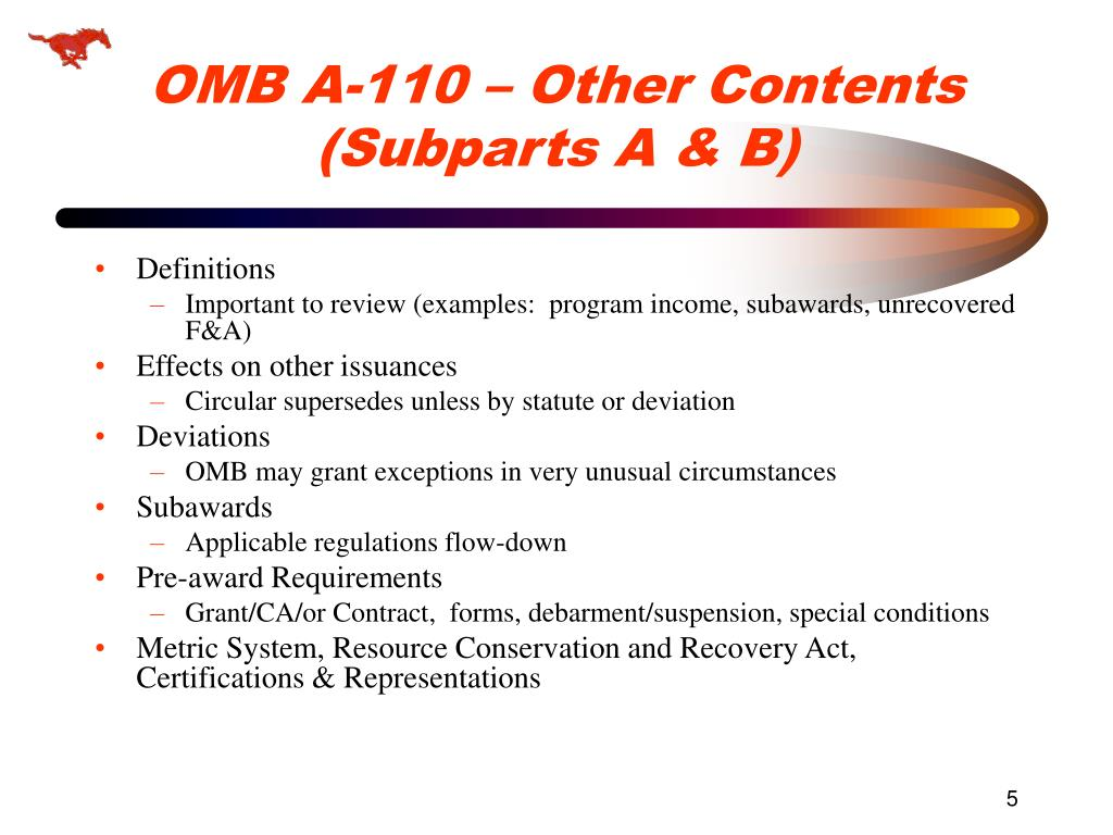 OMB A-110 – Other Contents