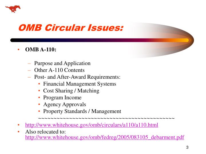 Omb circular issues