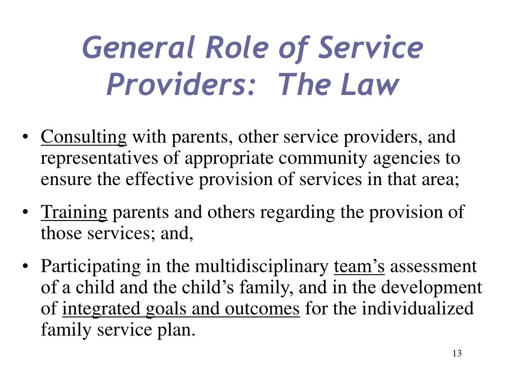 General Role of Service Providers:  The Law