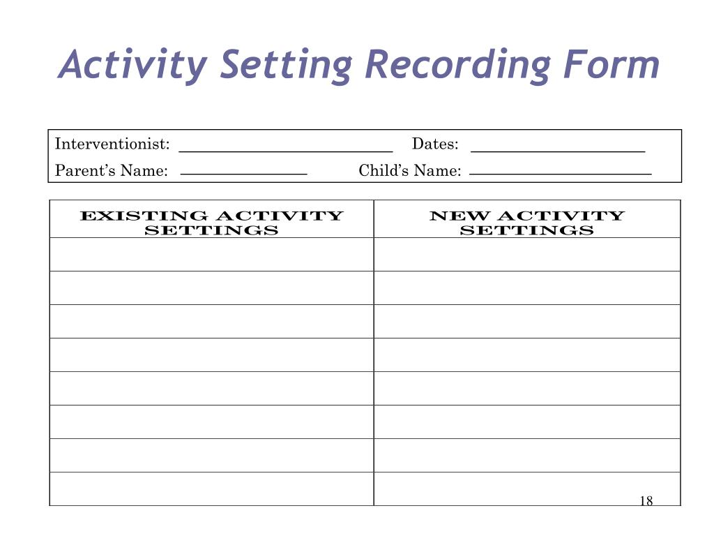 Activity Setting Recording Form