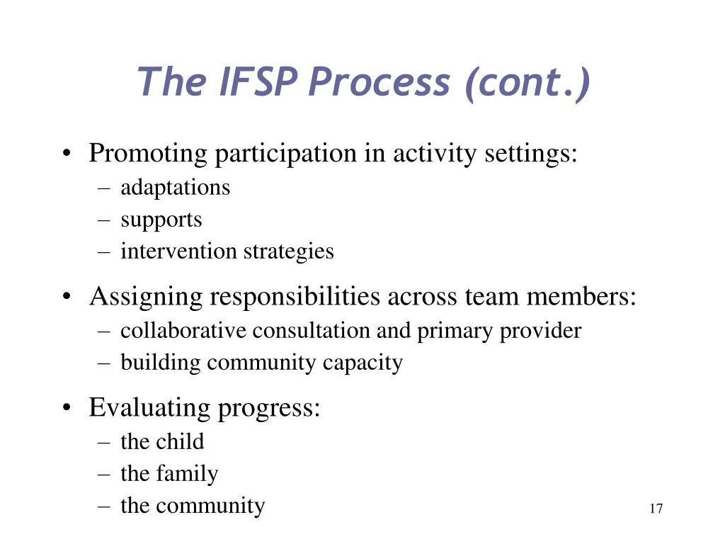 The IFSP Process (cont.)