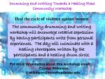 drumming and writing towards a healing place community workshop