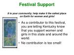 festival support it is your community help make it the safest place on earth for women and girls
