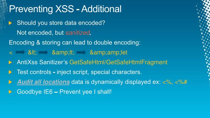 Preventing XSS - Additional
