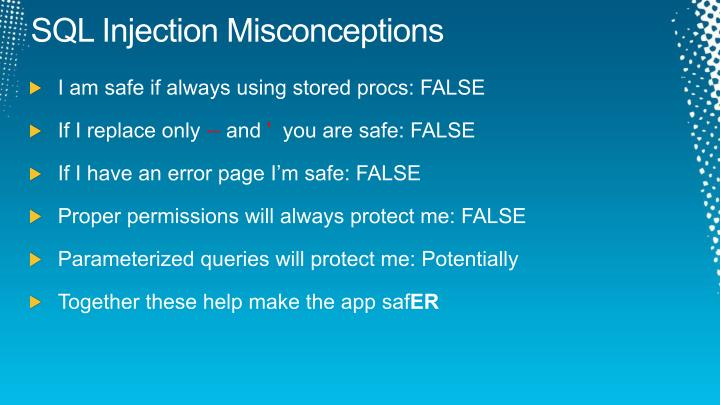 SQL Injection Misconceptions