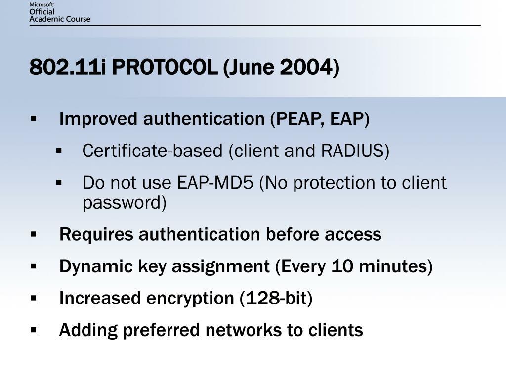 802.11i PROTOCOL (June 2004)