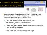 osstmm professional security tester opst
