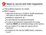 need to recruit and train inspectors