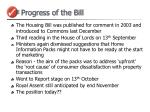 progress of the bill