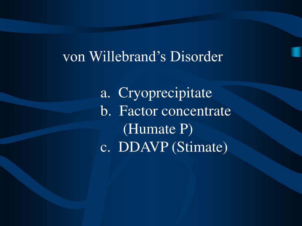 von Willebrand's Disorder