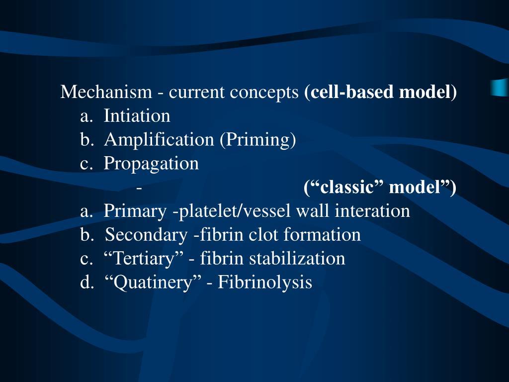 Mechanism - current concepts
