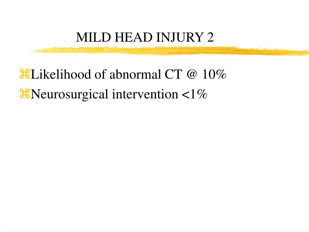 MILD HEAD INJURY 2