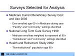 surveys selected for analysis