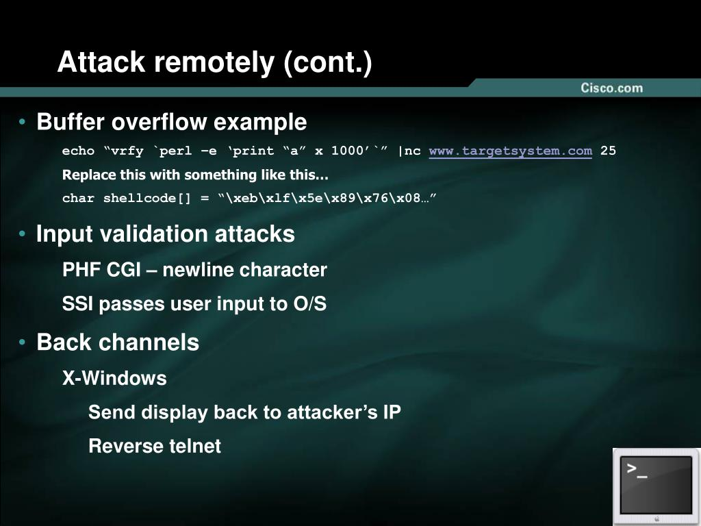 Attack remotely (cont.)