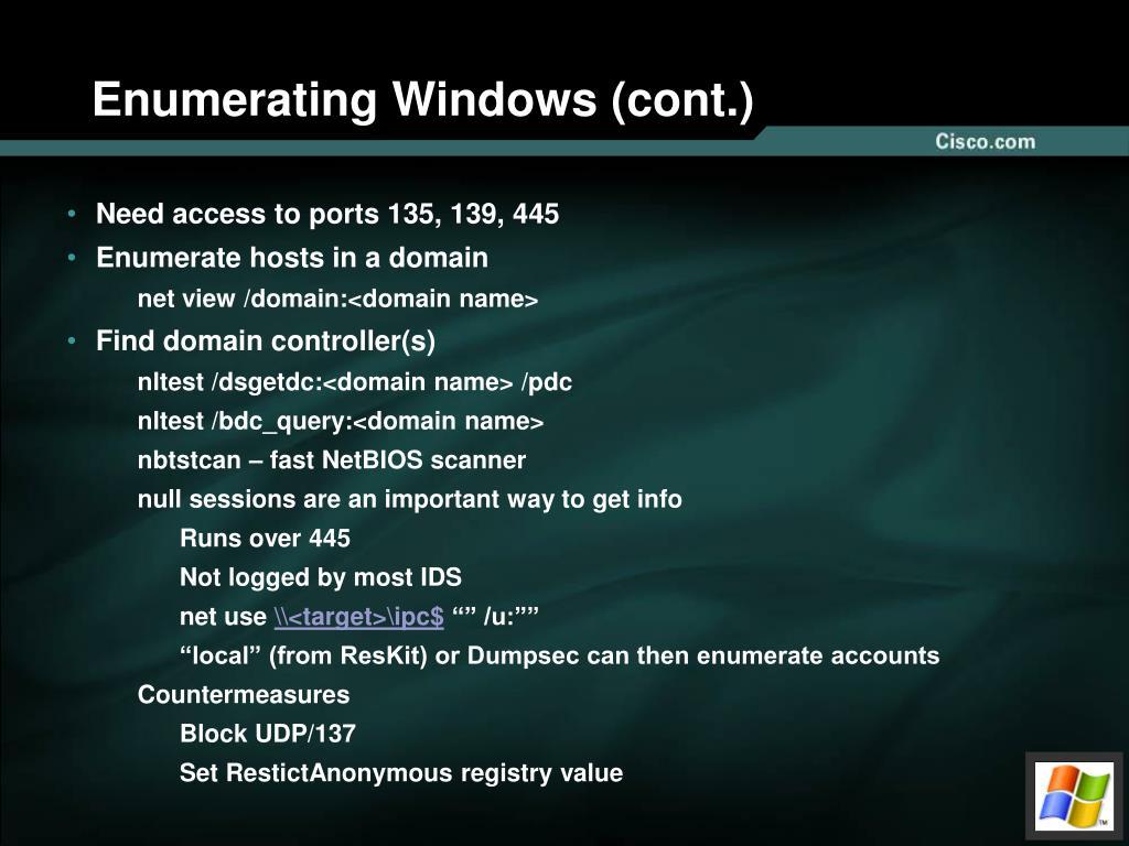 Enumerating Windows (cont.)
