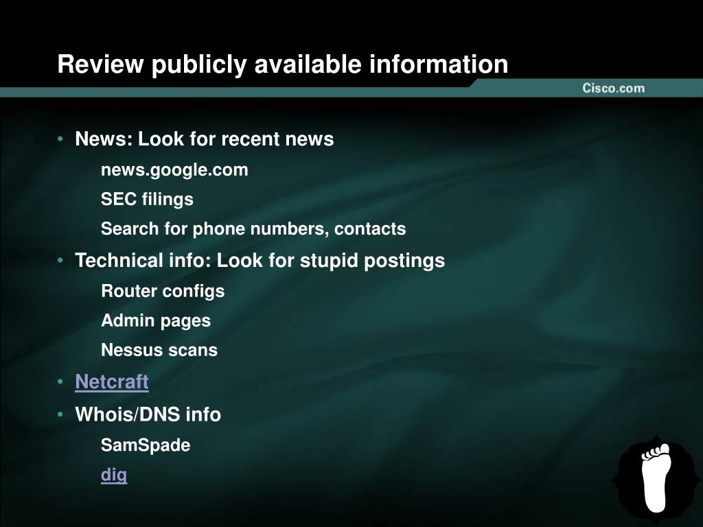 Review publicly available information