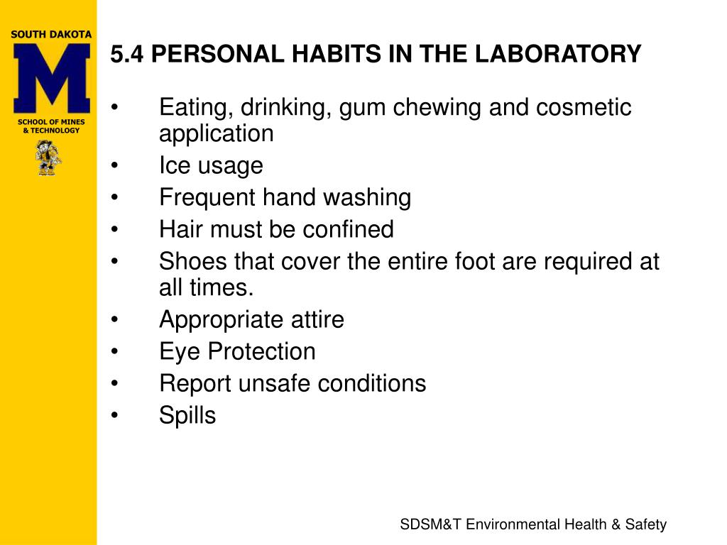 5.4 PERSONAL HABITS IN THE LABORATORY