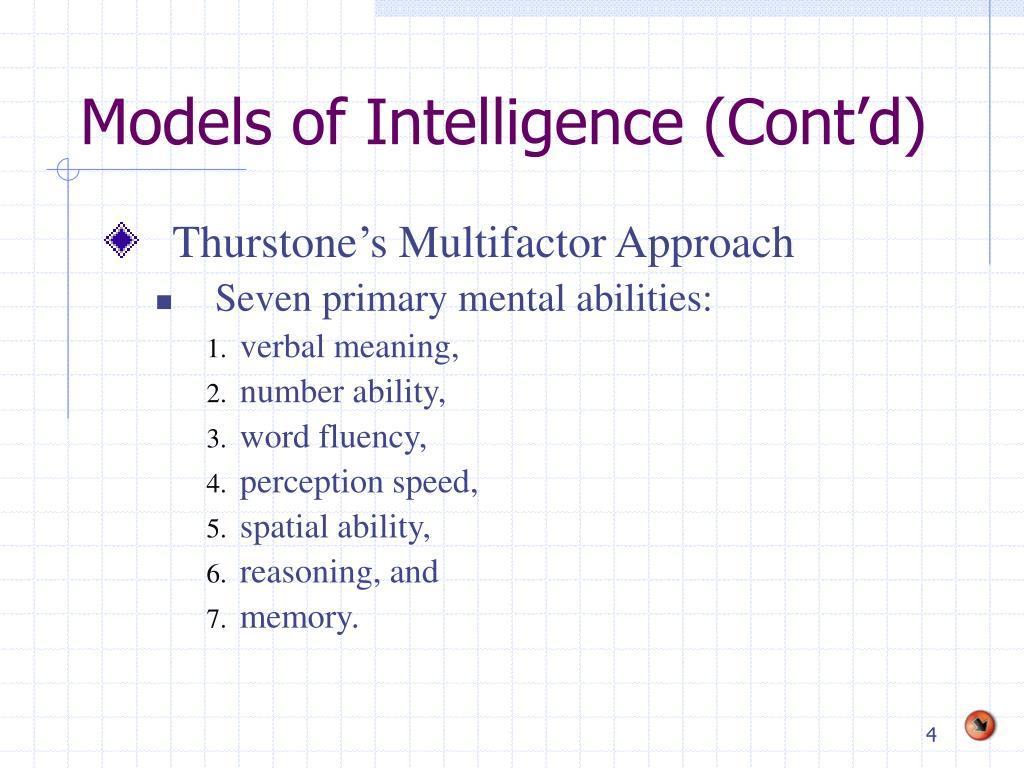 Models of Intelligence (Cont'd)