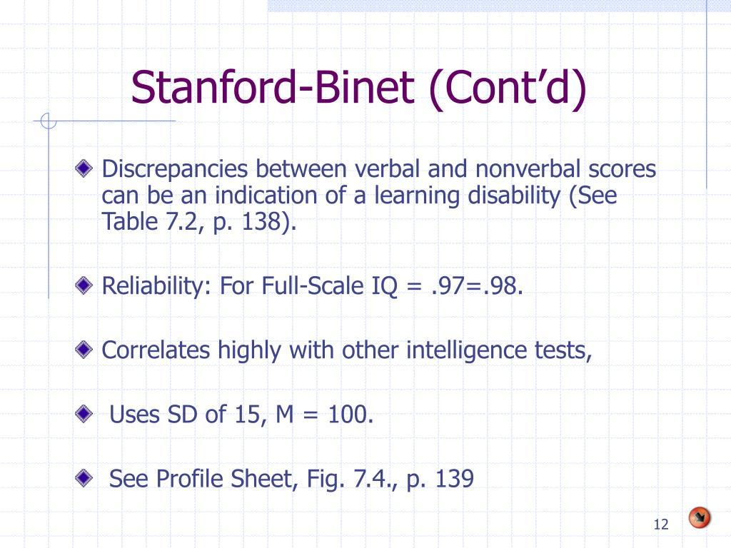Stanford-Binet (Cont'd)