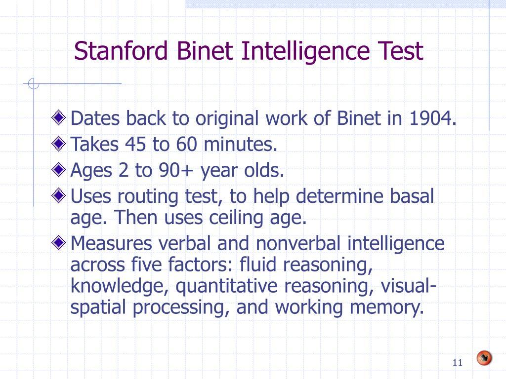 Stanford Binet Intelligence Test