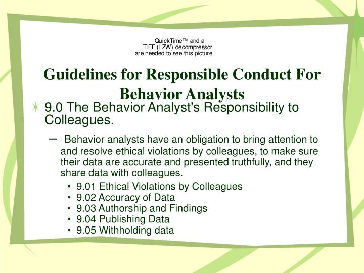 Guidelines for Responsible Conduct For Behavior Analysts