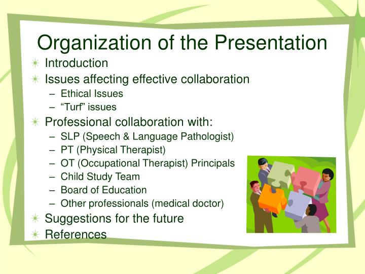 Organization of the presentation