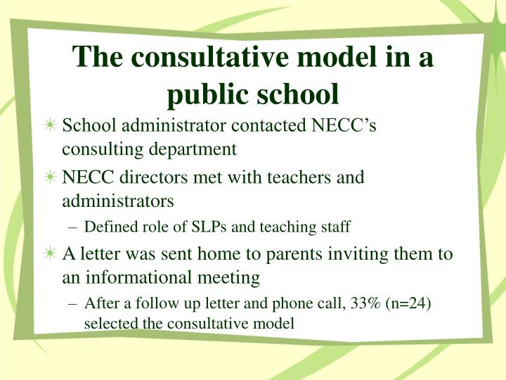 The consultative model in a public school
