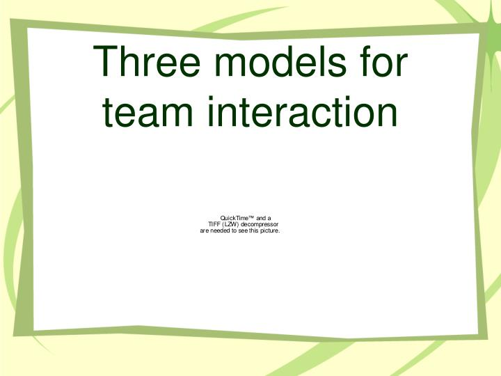 Three models for team interaction