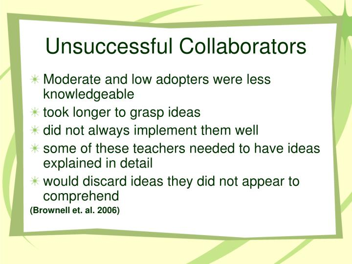 Unsuccessful Collaborators