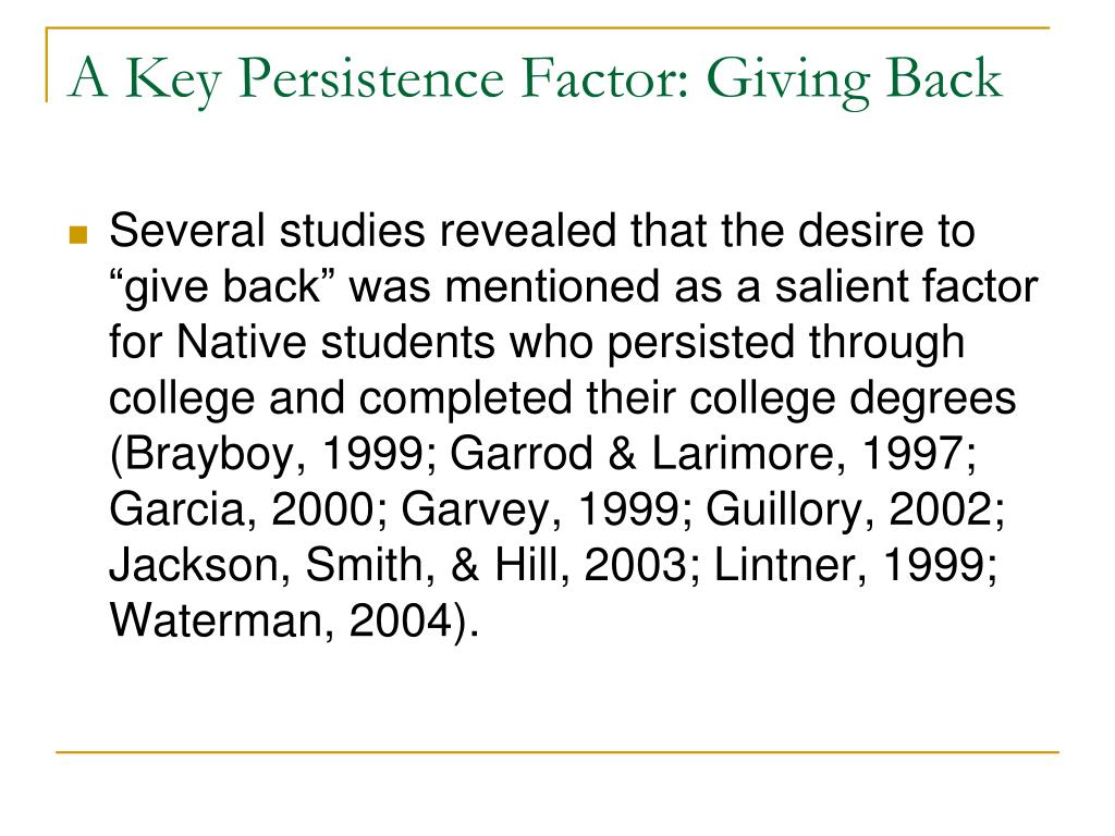 A Key Persistence Factor: Giving Back