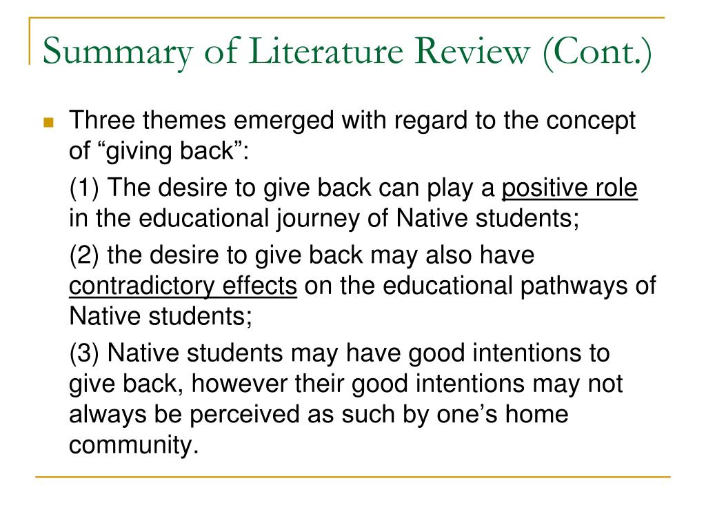 Summary of Literature Review (Cont.)