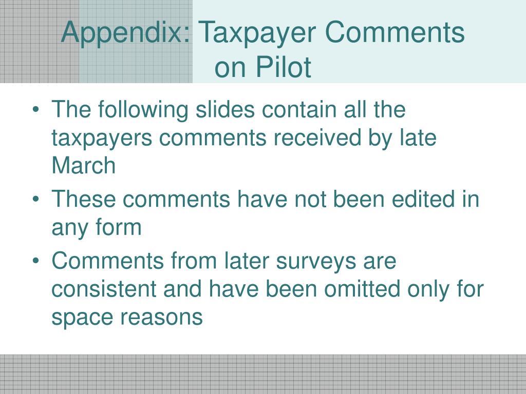 Appendix: Taxpayer Comments