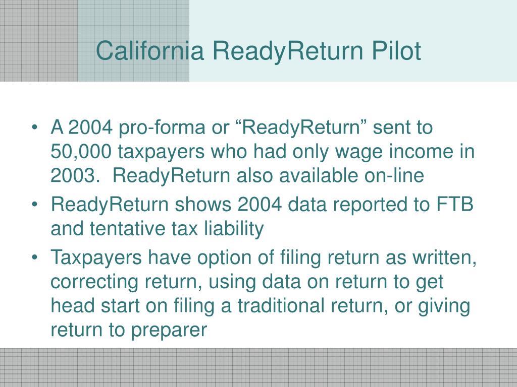 California ReadyReturn Pilot